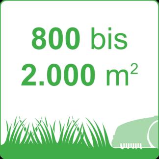 800 bis 2.000 m²